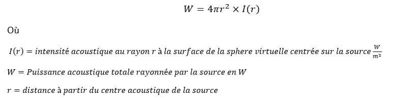 Calcul de la puissance acoustique